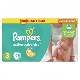 Pampers Active Baby Giant Pack Πάνες Νο3 (4-9 kg), 108 τεμάχια